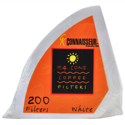 No. 4 Cone Coffee Filters, White, 200ct